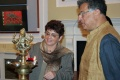 Austrian Ambassador Dr. Gabriele Matzner-Holzer light the lamp and Girish Karnad