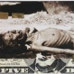 A starving woman bedded on a  five Dollar note, covered with gold leaf