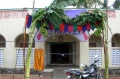 Banana trees decorate the school entrance