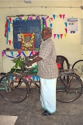 Ramachandran with his blessed bicycle