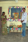 Uma and Udaya Kumar prays for the school