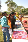 Visitors interested in the Bindu paintings