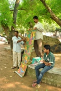 Story teller with a painting-roll